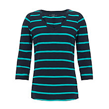 Buy Collection WEEKEND by John Lewis Stripe V-Neck Slub Top, Navy/Teal Online at johnlewis.com