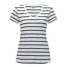 Buy Kin by John Lewis V-Neck Slub Striped T-Shirt, Navy/White Online at johnlewis.com