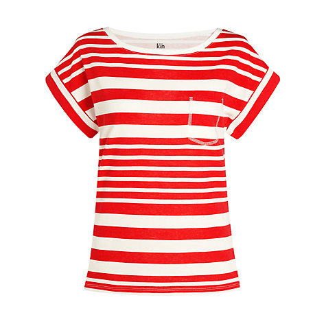 Buy Kin by John Lewis Striped Turn-Back Cuff Top Online at johnlewis.com