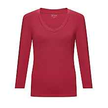 Buy John Lewis V-Neck Top, Cranberry Online at johnlewis.com
