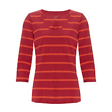 Buy Collection WEEKEND by John Lewis Stripe V-Neck Slub Top, Claret/Poppy Online at johnlewis.com