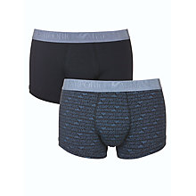 Buy Emporio Armani All Over Logo and Plain Trunks, Pack of 2, Blue Online at johnlewis.com