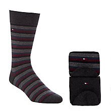Buy Tommy Hilfiger Stripe and Plain Cotton Rich Socks, Pack of 2, Grey/Red/Blue Online at johnlewis.com
