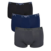 Buy Emporio Armani Plain Trunks, Pack of 3, Blue/Black/Grey Online at johnlewis.com