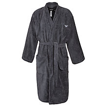 Buy Emporio Armani Cotton Robe, Charcoal Online at johnlewis.com