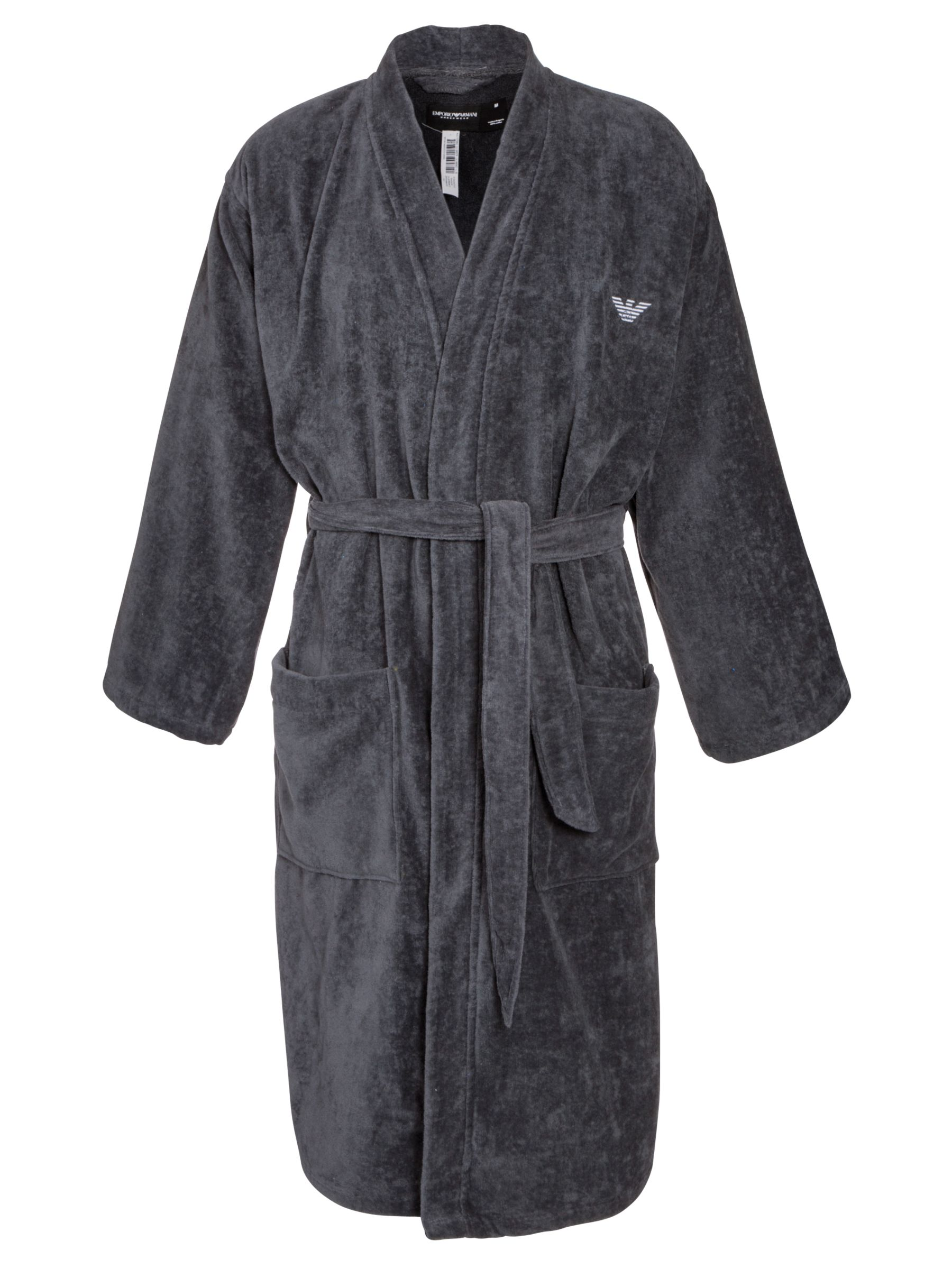 Emporio Armani Cotton Robe, Charcoal
