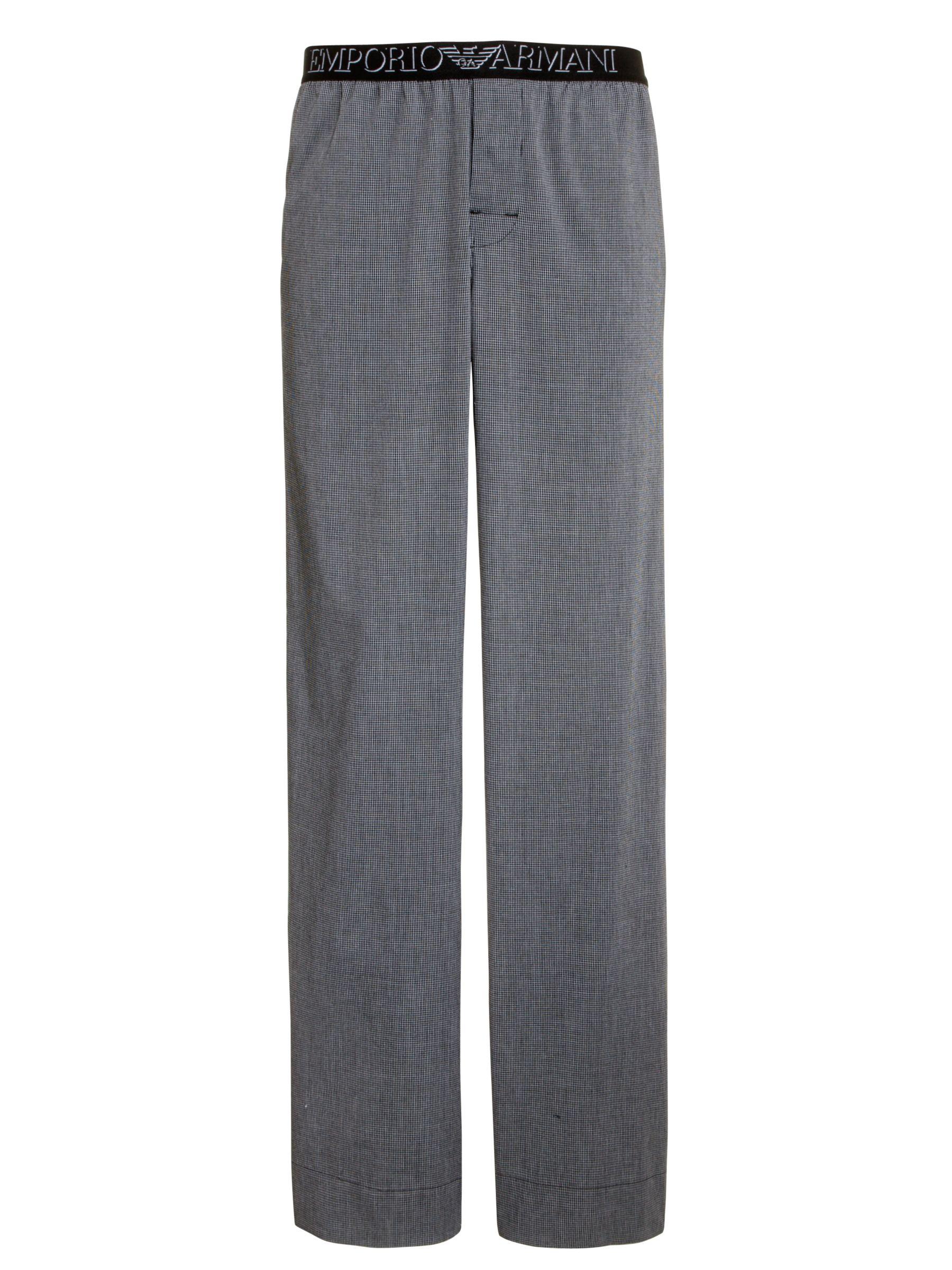 Emporio Armani Check Pyjama Bottoms, Grey
