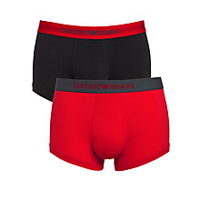 Buy Emporio Armani Plain Trunks, Pack of 2, Red/Khaki/Black Online at johnlewis.com