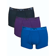 Buy Emporio Armani Cotton Trunks, Pack of 3, Grey/Purple/Blue Online at johnlewis.com