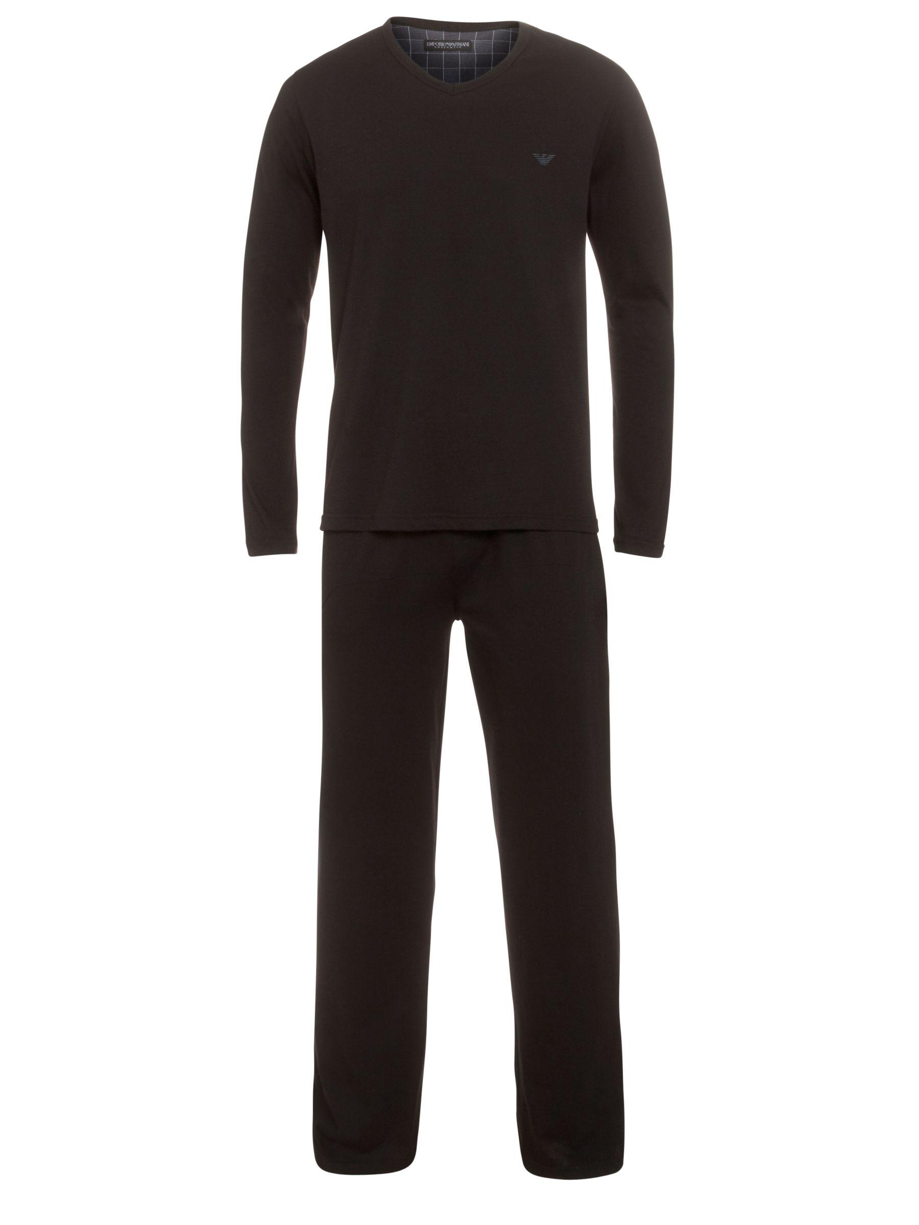Emporio Armani Cotton Pyjamas Set, Black