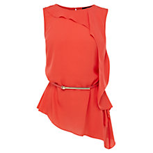 Buy Oasis Roxanne Frill Top, Coral Online at johnlewis.com