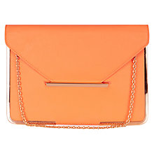 Buy Oasis Metal Edged Clutch Bag, Coral Online at johnlewis.com