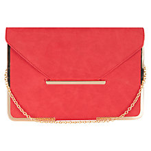 Buy Oasis Metal Edged Clutch Bag, Mid Red Online at johnlewis.com