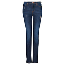 Buy Mango Distressed High Rise Jeans, Dark Denim Online at johnlewis.com