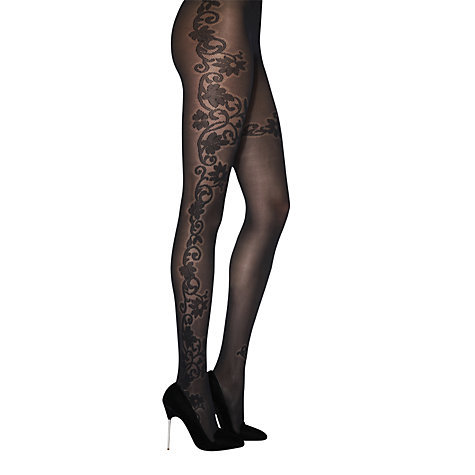 Buy Jonathan Aston Mimi Floral Tights, Black Online at johnlewis.com