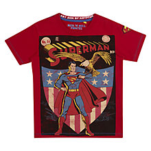 Buy Superman Comic T-Shirt, Red Online at johnlewis.com