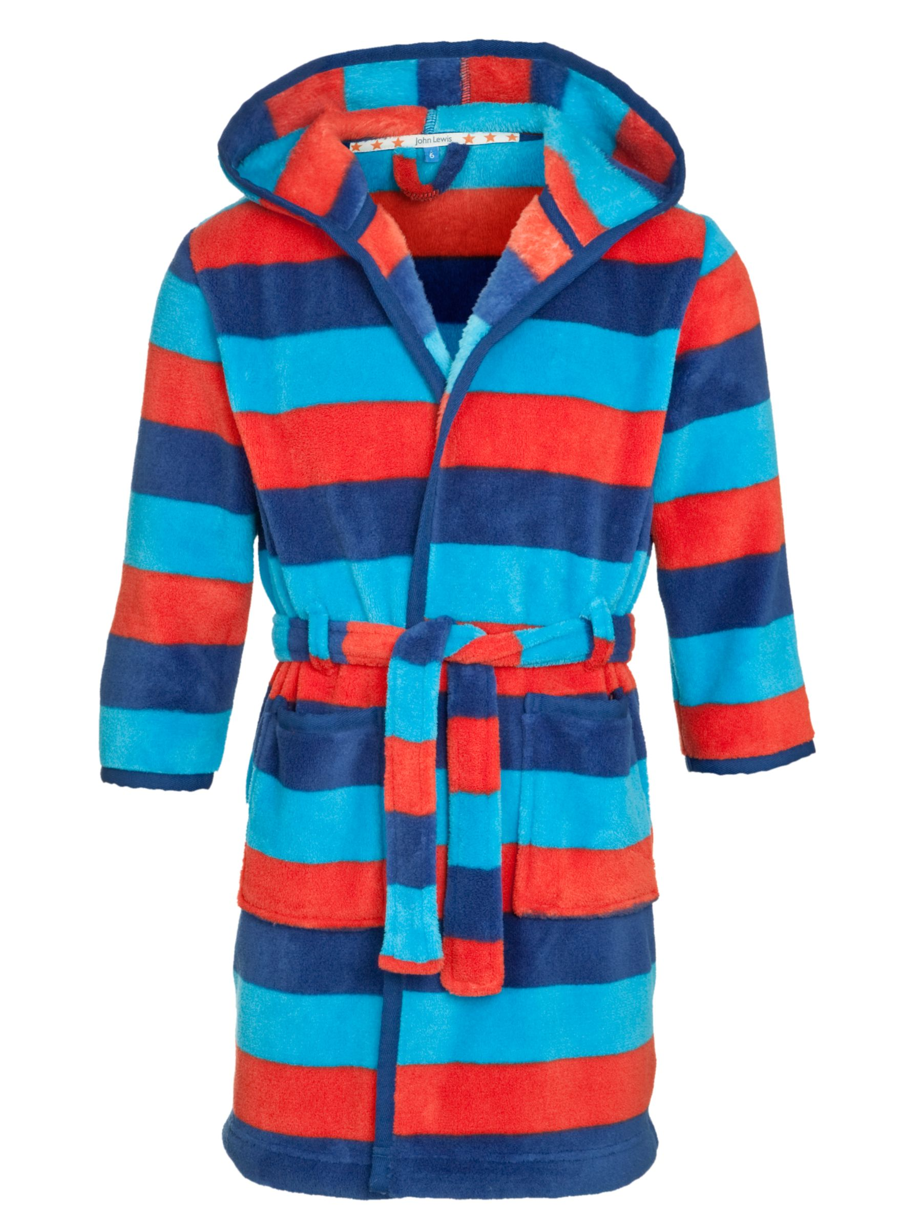 John Lewis Boy Striped Robe, Blue/Red