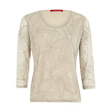 Buy Jacques Vert Knitted Leaf Top, Cream Online at johnlewis.com