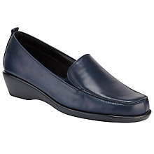 Buy John Lewis Designed for Comfort Eagle Wedge Heel Mocassins, Navy Online at johnlewis.com