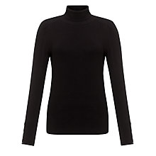 Buy John Lewis Roll Neck Rib Hem Jumper, Black Online at johnlewis.com