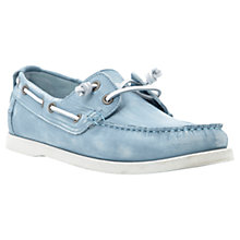 Buy Bertie Bassett Leather Boat Shoes, Light Blue Online at johnlewis.com