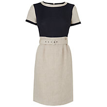 Buy Aquascutum Linen Block Dress, Navy Online at johnlewis.com