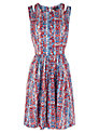 Buy Warehouse Ditsy Print Cutout Dress, Multi, 6 Online at johnlewis.com