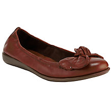 Buy John Lewis Designed for Comfort Peacock Leather Bow Trim Ballerina Pumps, Tan Online at johnlewis.com