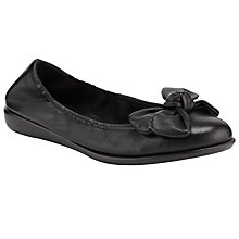 Buy John Lewis Designed for Comfort Peacock Leather Bow Trim Ballerina Pumps, Black Online at johnlewis.com