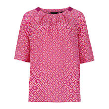 Buy Ted Baker Beaulah Geo Print Top, Bright Pink Online at johnlewis.com