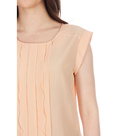 Buy Oasis Scallop Roll Sleeve T-Shirt, Light Pink Online at johnlewis.com