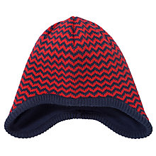 Buy John Lewis Boy Zig Zag Stripe Trapper Hat, Navy/Red Online at johnlewis.com