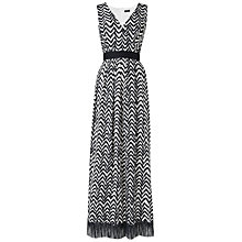 Buy Jaeger Brushstroke Herringbone Maxi Dress, Black Online at johnlewis.com