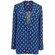 Buy Jaeger Geometric Silk Jacket, Blue Online at johnlewis.com