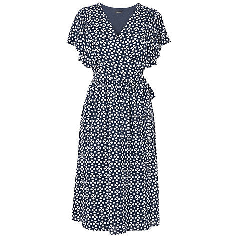 Buy Jaeger Ruffle Sleeve Dress, Navy Online at johnlewis.com