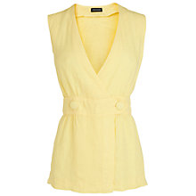 Buy Jaeger Button Linen Top, Pale Yellow Online at johnlewis.com