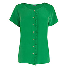 Buy Jaeger Frill Front Blouse, Green Online at johnlewis.com