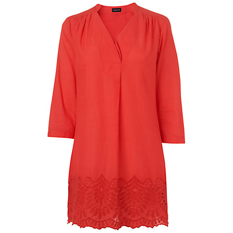 Buy Jaeger Broderie Hem Kaftan Top, Pink Online at johnlewis.com