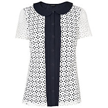 Buy Jaeger Embroidered Peter Pan Blouse, Navy Online at johnlewis.com