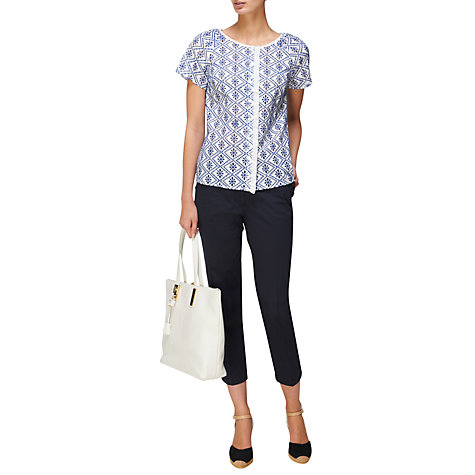 Buy Jaeger Embroidered Blouse, Blue Online at johnlewis.com