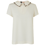 Boutique by Jaeger Jewel Collared Top, Ivory