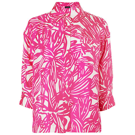 Buy Jaeger Malibu Silk Blouse, Bright Pink Online at johnlewis.com