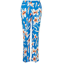 Buy Jaeger Floral Trousers, Turquoise Online at johnlewis.com