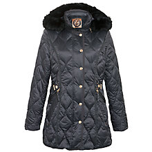 Buy Gerry Weber Faux Fur Trim Belted Coat, Charcoal Online at johnlewis.com