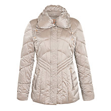 Buy Gerry Weber Drawstring Hood Quilted Coat, Mink Online at johnlewis.com