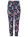 John Lewis Girl Floral Leggings, Navy