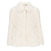 Buy John Lewis Girl Faux Fur Peplum Coat, Cream Online at johnlewis.com