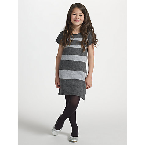 Buy Kin by John Lewis Girls' Knitted Striped Dress, Grey Online at johnlewis.com