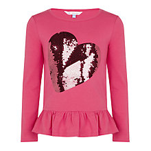 Buy John Lewis Girl Long Sleeve Sequin Heart Peplum Top Online at johnlewis.com