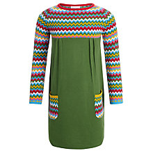 Buy John Lewis Girl Zig Zag Knit Dress, Green/Multi Online at johnlewis.com